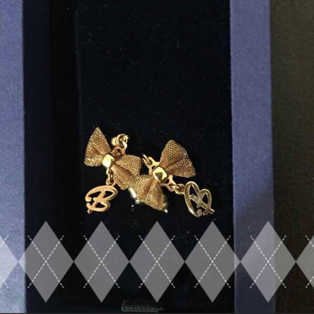 蝴蝶結耳環金色耳針