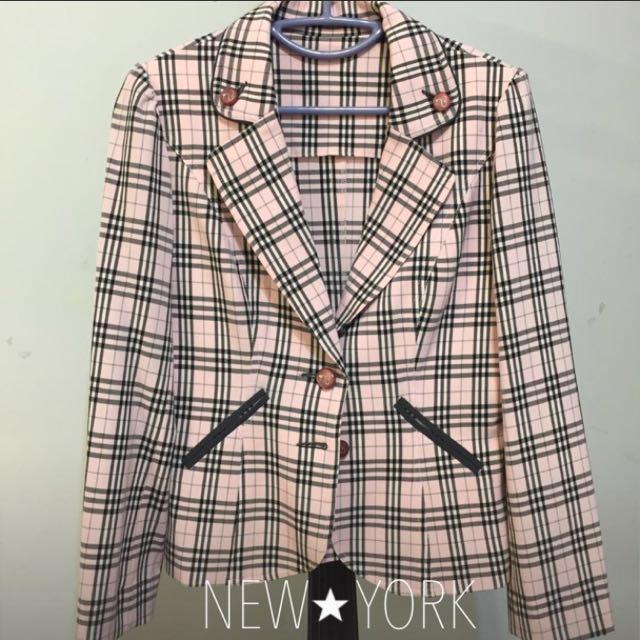 英倫風格子西裝外套/粉色