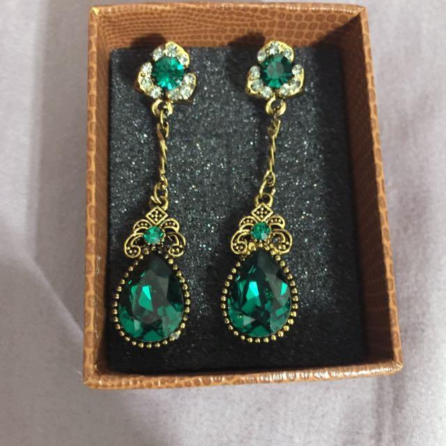 復古維多利亞時代綠寶石針式耳環