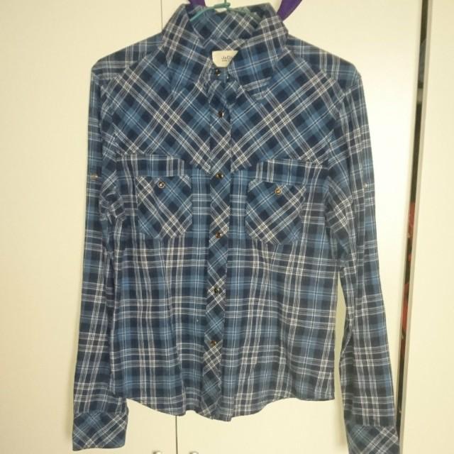 學院風格紋長袖襯衫