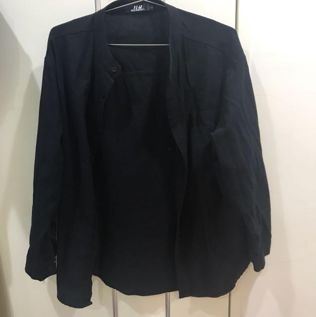 黑色立領襯衫