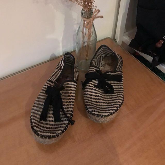 法國品牌 休閒條紋綁帶草編鞋(深藍)