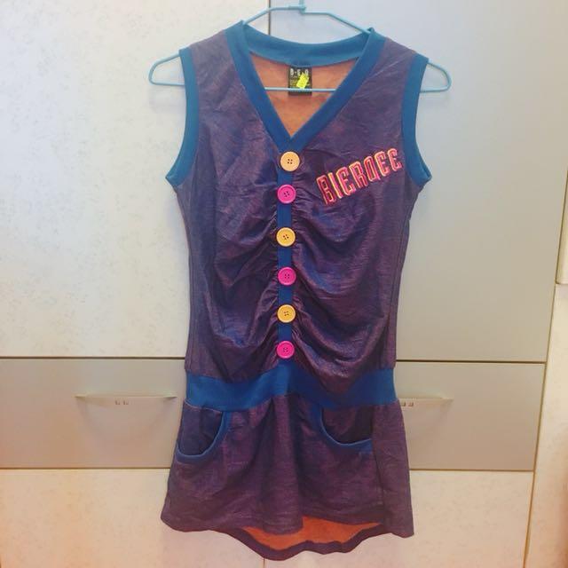 香港製 混色活力洋裝