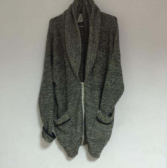 二手  粗針織假領長版外套