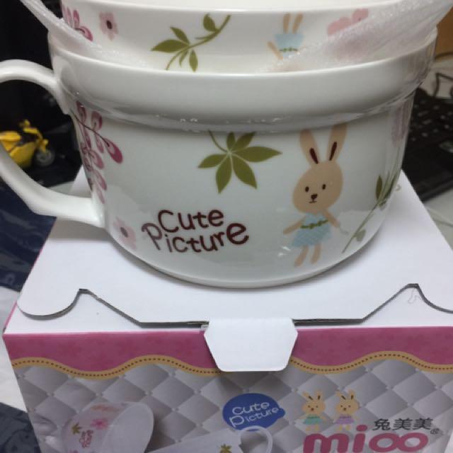 全新_兔妹妹陶瓷碗
