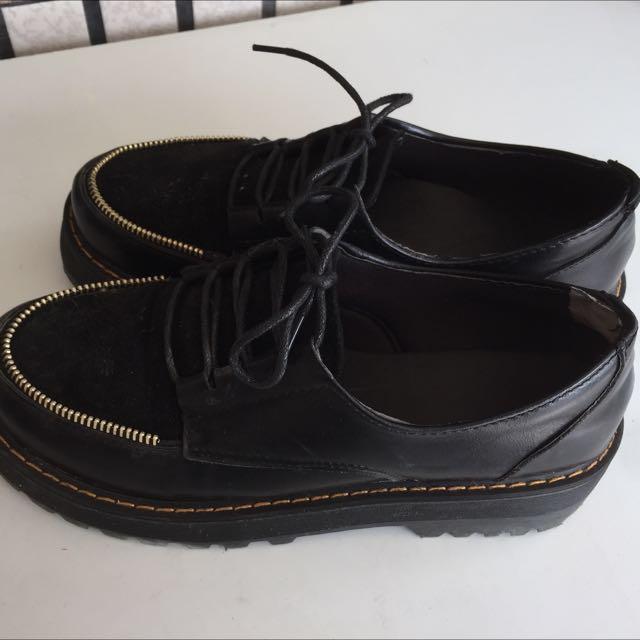 厚底鞋 黑  個性拉鍊