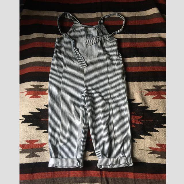古著 藍白條紋吊帶褲 日本製