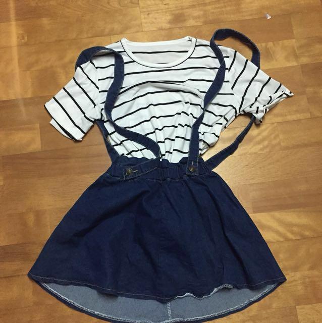 橫條紋短袖上衣+牛仔吊帶裙 #手滑買太多 #兩百元丹寧 #我的女裝可超取