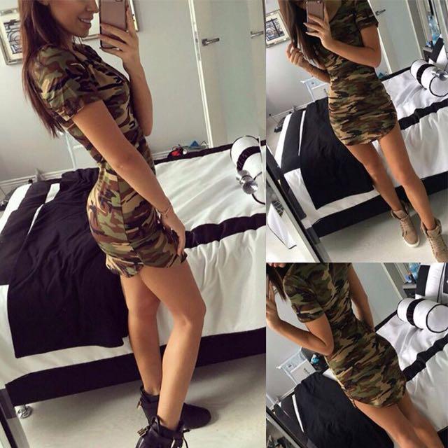 📬💌 Army Camouflage Mini Dress
