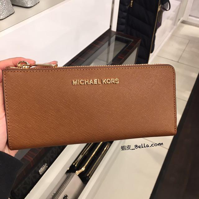 美國代購🇺🇸 Michael Kors MK logo 女生 防刮皮 卡其色 長夾 有零錢袋 拉鍊長夾