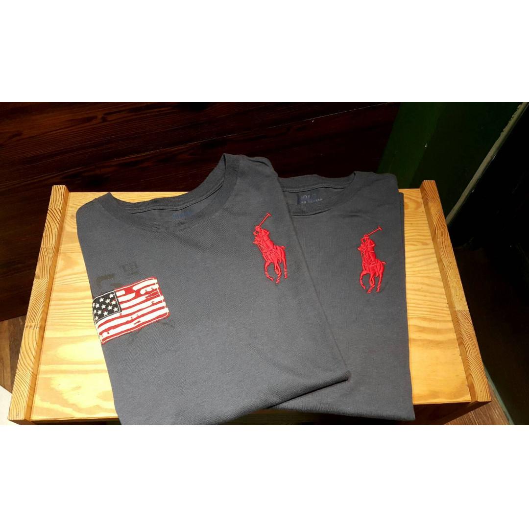 復古藍 青少年M(適合女生S-M穿)   Polo Ralph Lauren 刺繡大馬 國旗貼布 圓領上衣 短TEE 美國買!