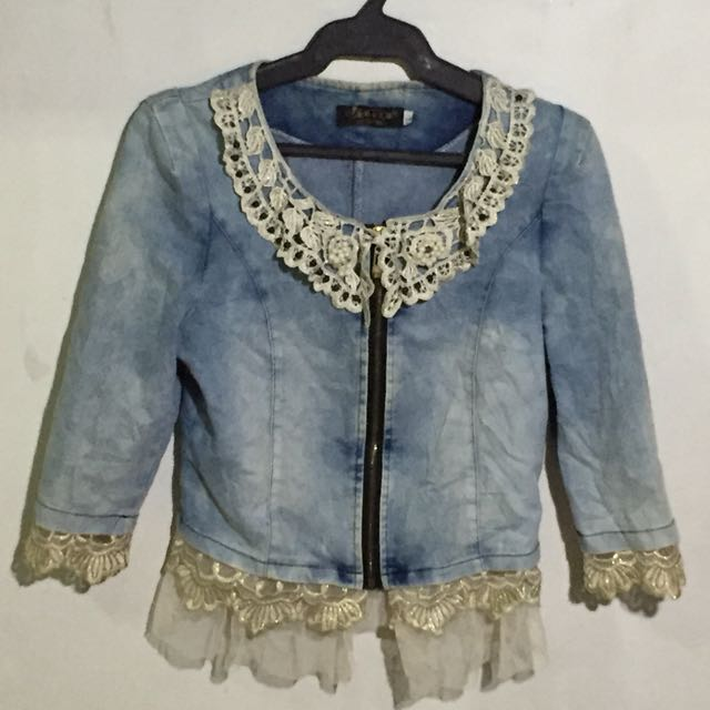 Acid wash denim jacket with beads and lace details