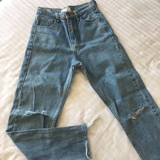 American apparel light blue denim ripped jeans pants