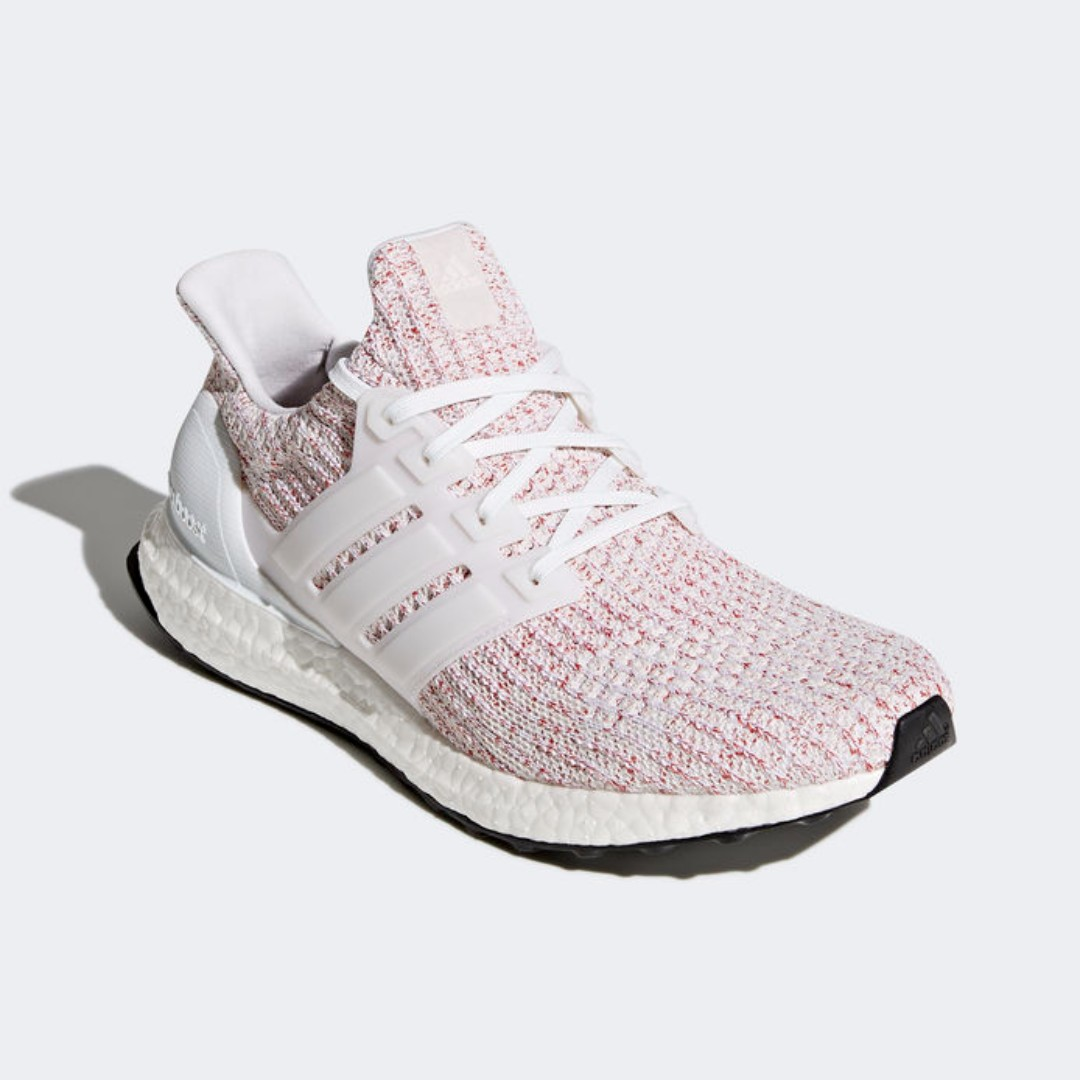 """94ff0b5c0 Authentic Adidas ULTRABOOST 4.0 """"CANDY CANE"""" White   Scarlet   Multi ..."""