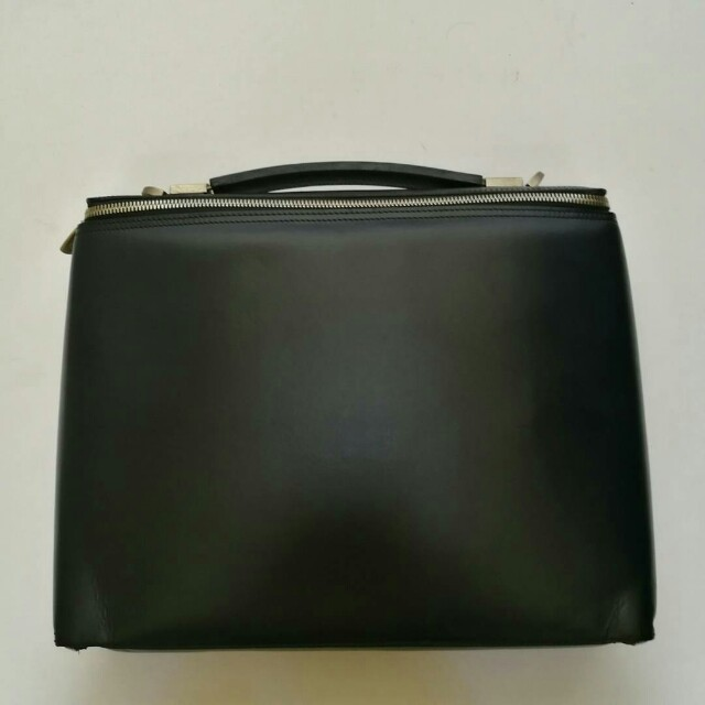 Authentic Dunhill Dark Blue Slim Zippered Leather Briefcase