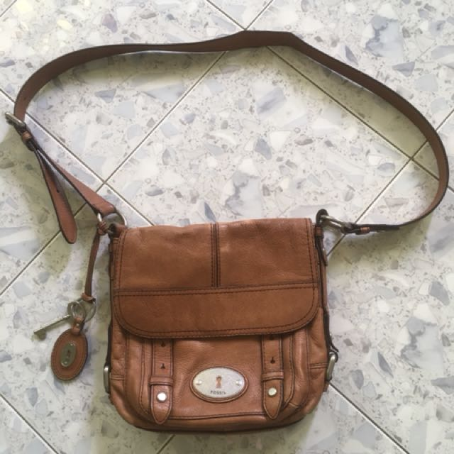 Authentic Fossil Leather Sling Bag