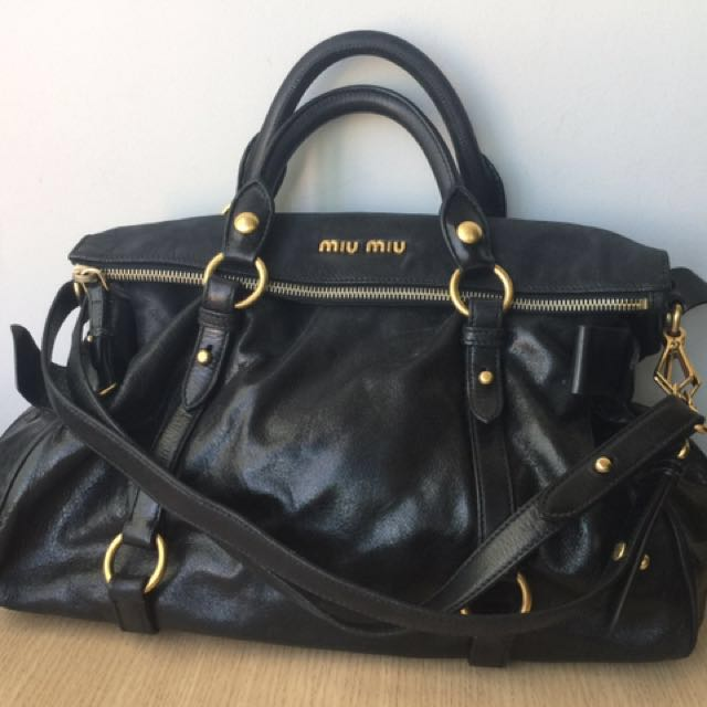 43c46cba0a84 Authentic Miu Miu Vitello Lux Bow Bag