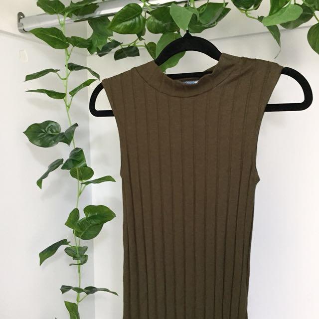Basic Ribbed Brown / Khaki Green Midi Bodycon Dress