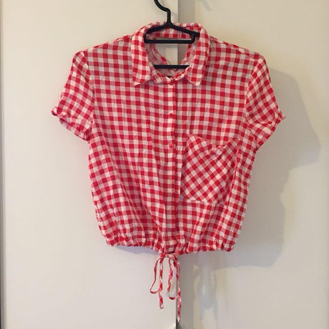 Bershka 紅白格 格紋 短版 綁帶 襯衫