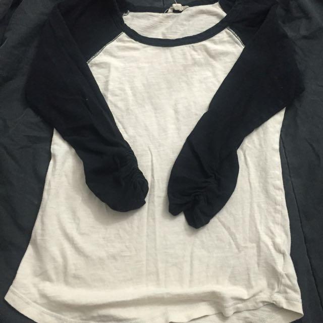 Black & White 3/4 Sleeve Shirt