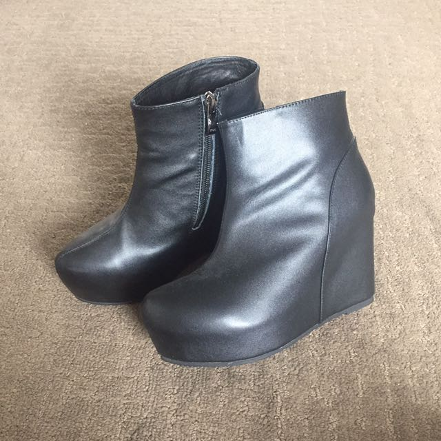 Black leather boot wedges