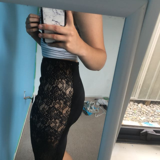 Black skirt with lace sides
