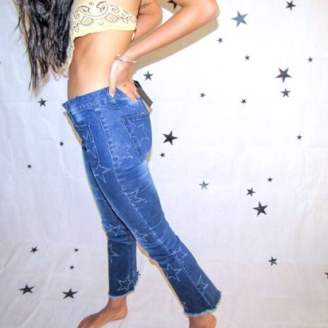 Blue Denim Star Flare Jeans
