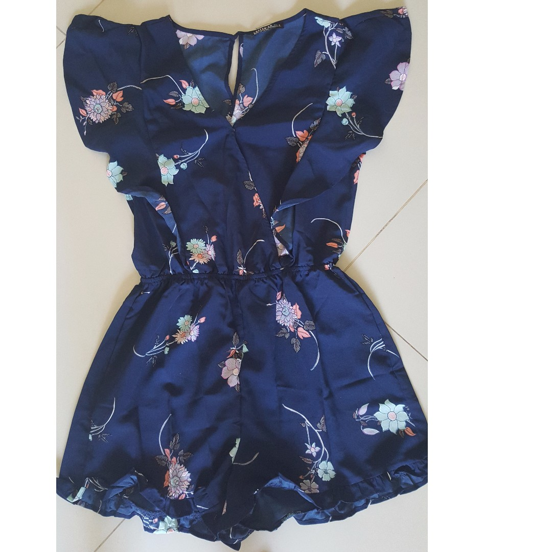 2f7b9aaf494 BN  Cotton On Women Floral Navy Woven Rene Ruffle Playsuit Romper ...