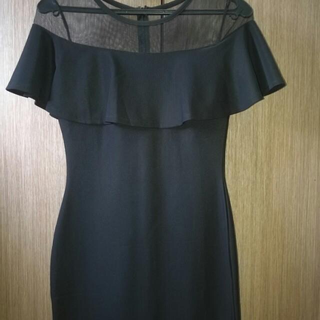 Bodycon Black mesh offshoulder dress