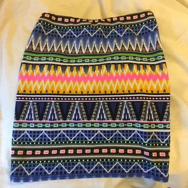 BOOHOO aztec skirt