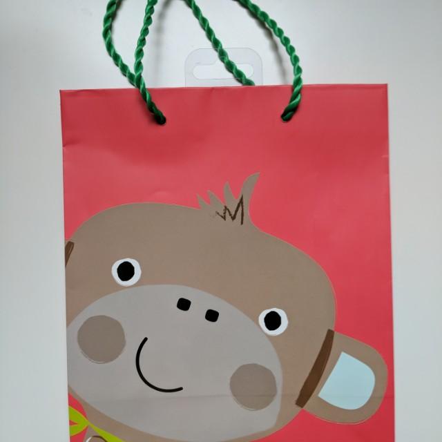 Brand New Gift Bag - Cute Monkey Themed