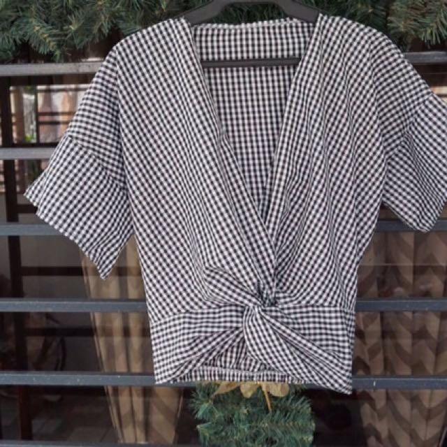 Checkered Blouse Black
