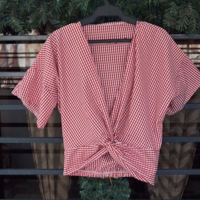 Checkered Blouse Red