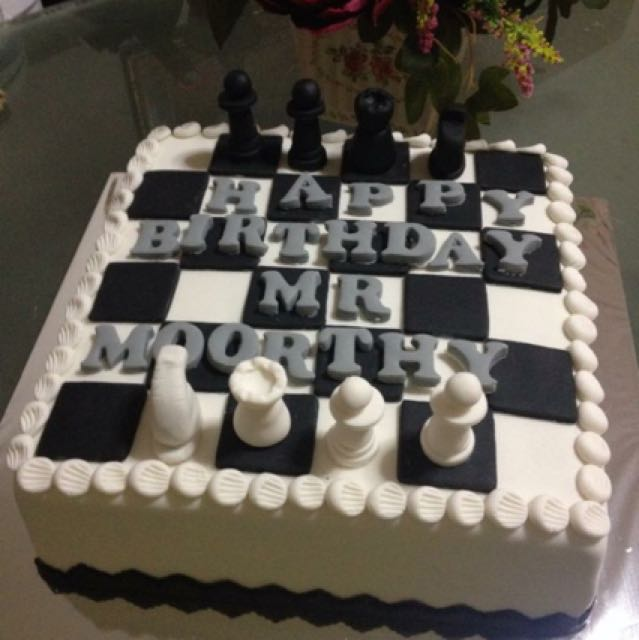 Prime Chess Theme Birthday Cake Food Drinks Baked Goods On Carousell Funny Birthday Cards Online Overcheapnameinfo