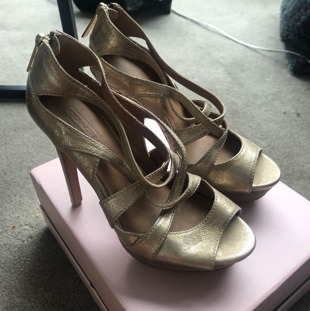 Coach Gold Heel Sandals