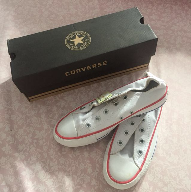 Converse all star white list blue and red