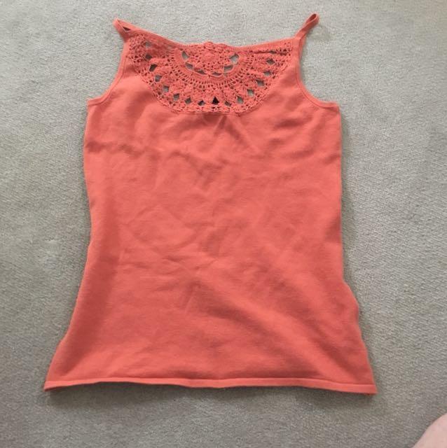 Crochet detail orange singlet
