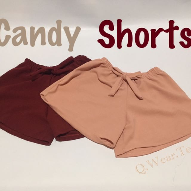 Cute Candy Shorts With Tie Ribbon Crepe Material in Maroon and Pink