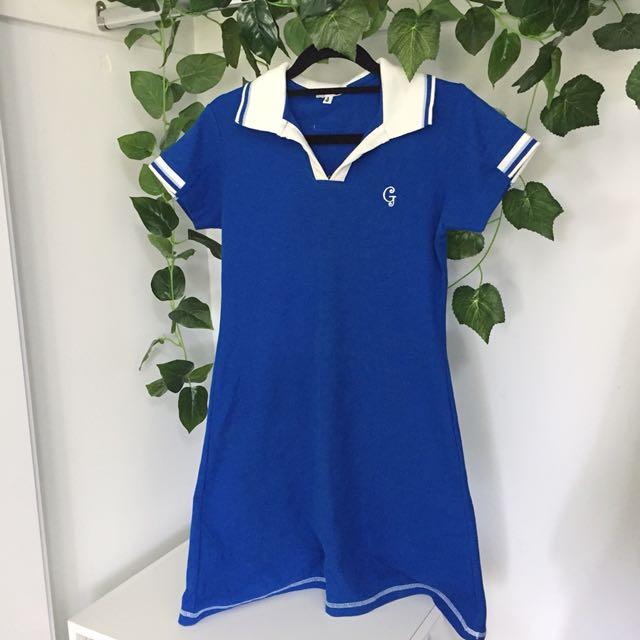 Dark Blue Tennis Style Polo Dress