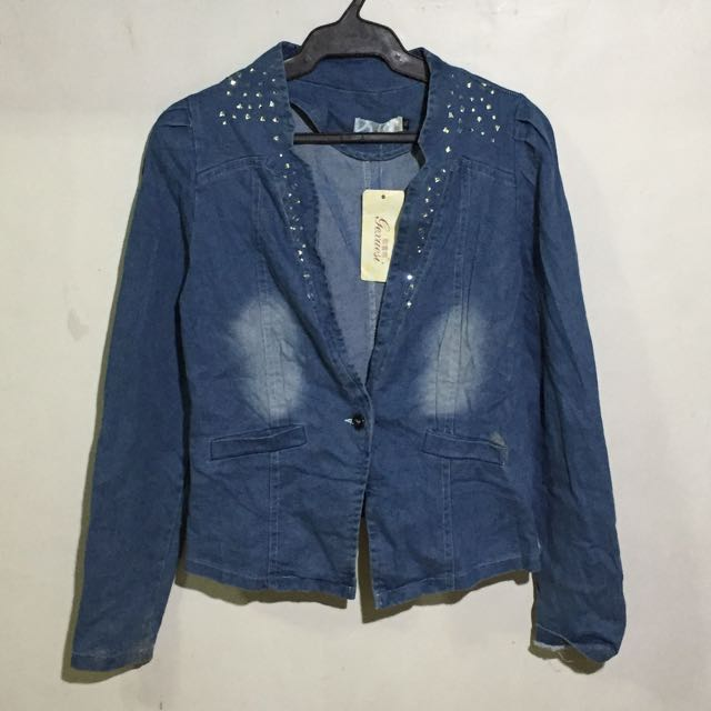 Denim blazer with diamond studs and lace details