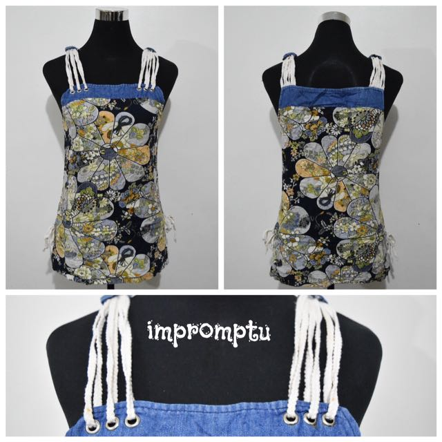 Denim Rope Strapped Floral Top