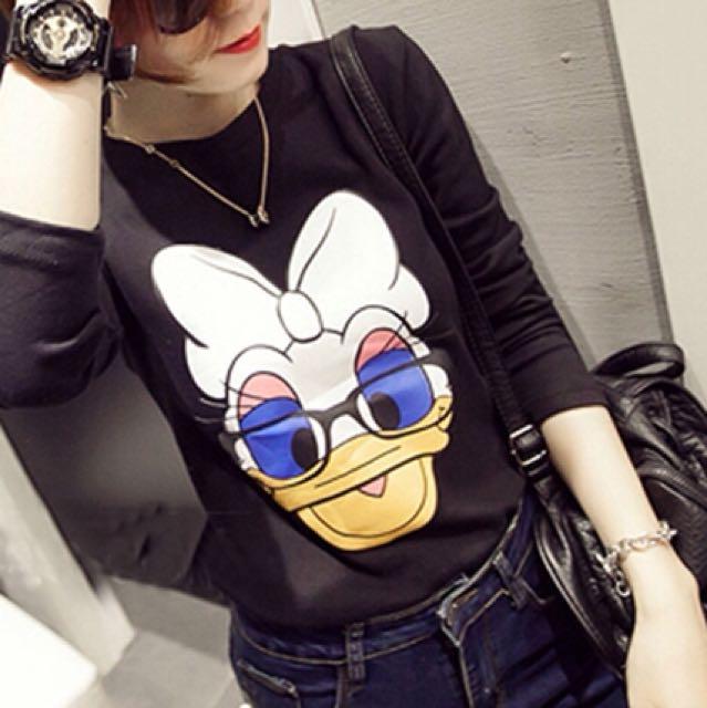 Duck print warm blouse