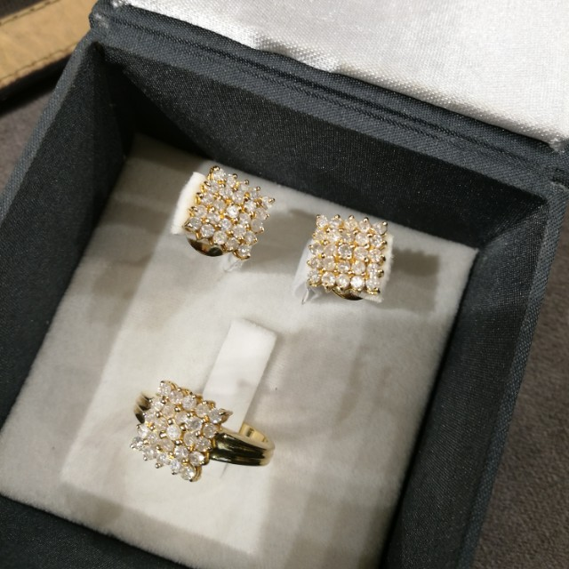 FINAL SALE 14k yellow gold ring and earring set with diamonds
