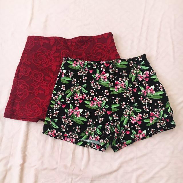 Floral High-waist shorts