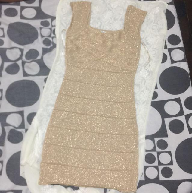 forever 21 gold bandage dress