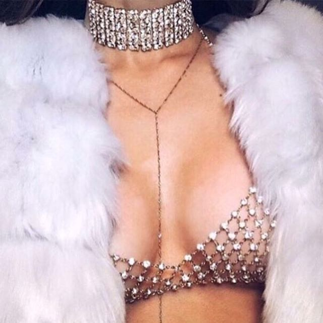 Full crystal body jewellery bra chain