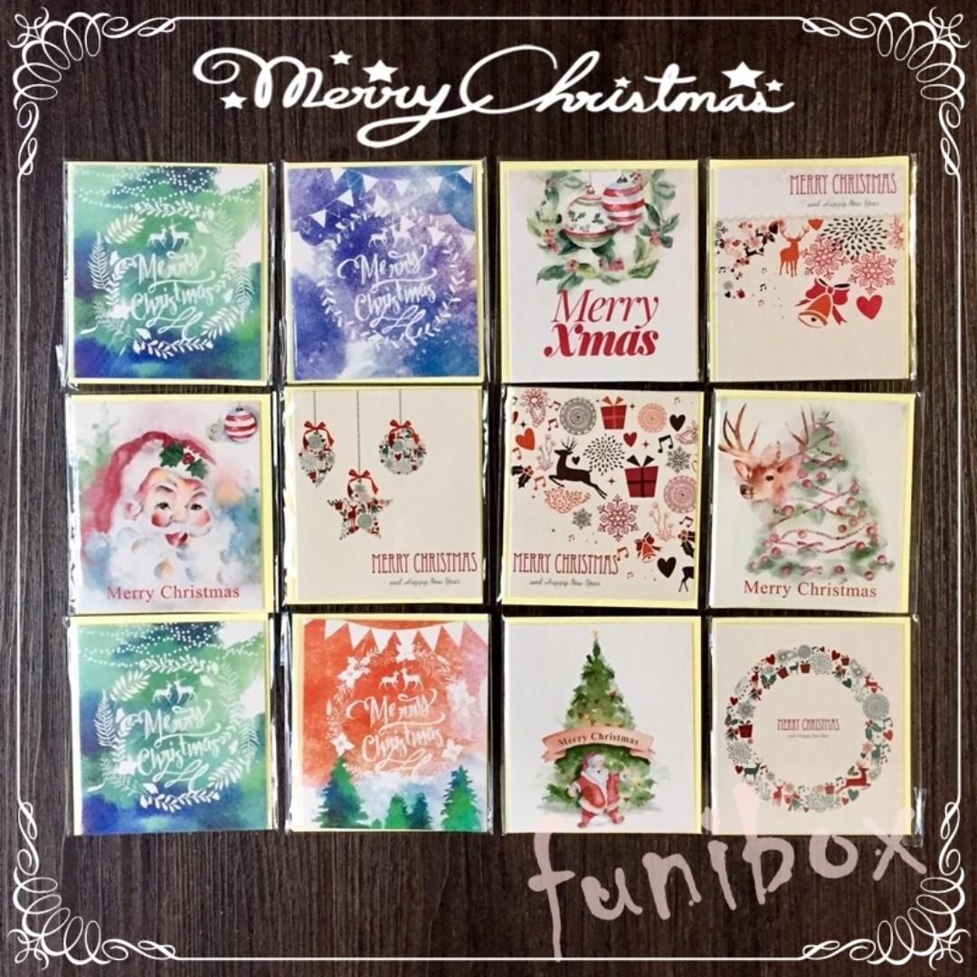 *funibox*【6入】渲染系列迷你聖誕卡片 耶誕賀卡(2款選)聖誕老人 麋鹿 花圈 聖誕祝福 聖誕樹 /節日祝福小卡
