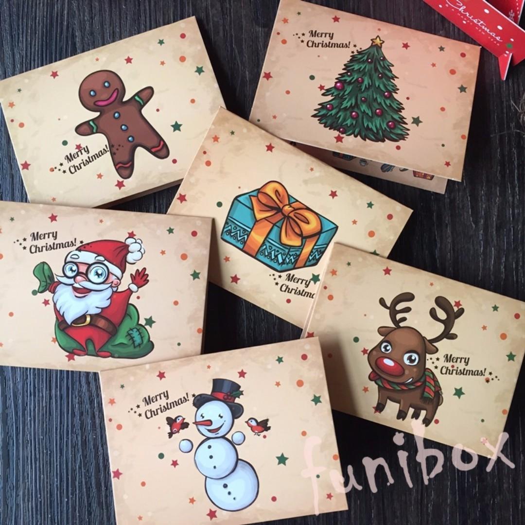 *funibox*【棕色系】聖誕卡片 耶誕賀卡(6款選)聖誕老人 麋鹿 雪人 薑餅人 聖誕樹 禮物/節日祝福小卡