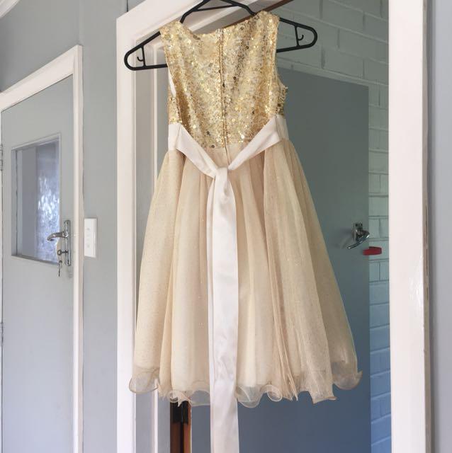Gold Flower Girls Dress