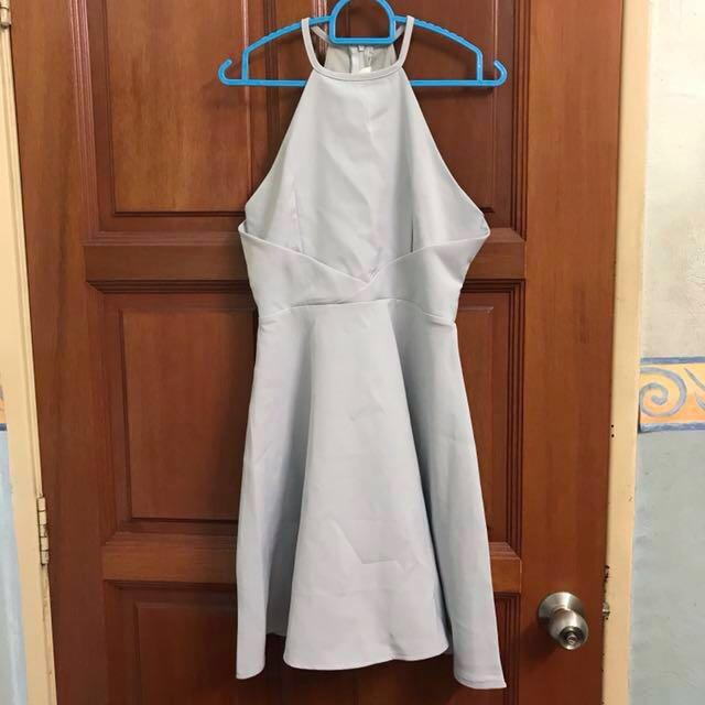 Grey Blue Halter Neck Skater Dress